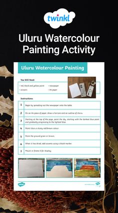 This resource would be a great activity to do with your middle or upper primary students during NAIDOC Week. Students will draw, paint and accent a picture of Uluru, a sacred place for the Australian Aboriginal people. Painting Activities, Activities To Do, Naidoc Week, Aboriginal People, Watercolour Painting, Students, Middle, Cards Against Humanity, Draw
