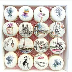 YES OR NO? Parisian life macarons by OMG its so beautiful! Paris Party, Cute Desserts, Delicious Desserts, Bolo Neon, Macaroon Cookies, Oreo Macaron, French Macaroons, Macaroon Recipes, Dessert Decoration