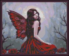 Fairy of the Red Rose - Counted Needle Point and Cross Stitch Chart Patterns. via Etsy.