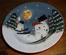 Sakura Oneida David Carter Brown Holiday Merry Christmas Snowman Bowl