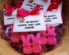 "Cute idea!  No ""Bunny"" Loves You Like   Jesus Loves You!  using bunny PEEPS. --- Easter idea"