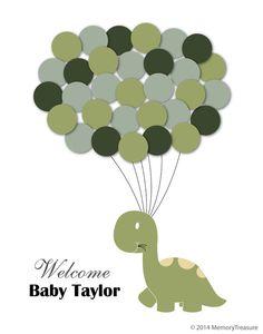 Baby Shower Guest Book Alternative Dinosaur by MemoryTreasure