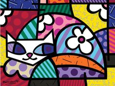 The official website and e-commerce shop for Pop Artist Romero Britto. Buy his collectibles and view his latest artwork reflecting a modern pop art theme. Arte Pop, Splat Le Chat, Art Pierre, Arte Country, Graffiti Painting, Cat Quilt, Inspiration Art, Cat Colors, Easy Paintings