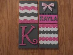 Glittered Pink Group Canvases for Dorm Room