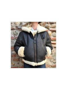 1980s Bomber Shearling Aviator cropped by louloufrenchvintage