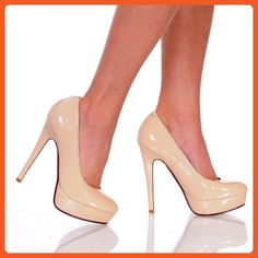 The Highest Heel FOXY-21 Close Toe, Nude Patent PU , Platform Pump, 10 B(M) US - Pumps for women (*Amazon Partner-Link)