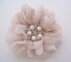 Stunning Blush Chiffon Bridal Flower Hair Clip by theraggedyrose, $32.95