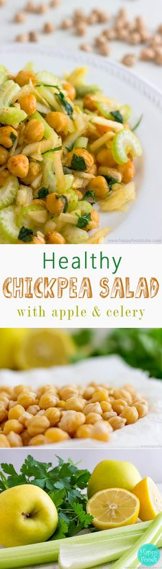 Healthy Chickpea Salad with Apple & Celery - to make this healthy salad you only need 5 ingredients, vegetarian salad, salad ideas Chickpea Salad Recipes, Vegetarian Salad, Healthy Salad Recipes, Veggie Recipes, Healthy Snacks, Vegetarian Recipes, Healthy Eating, Cooking Recipes, Clean Eating