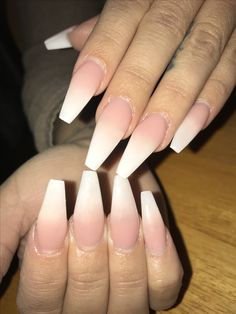 Baby boomer coffin shaped acrylic nails