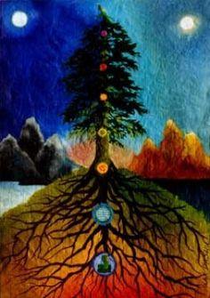 YggDrasil is the World Tree. The Tree of Life. The Tree that Unites Heaven and Earth ~ Moksha Productions Chakra Art, Chakra Healing, Chakra Painting, Tree Of Life Art, Tree Art, 7 Chakras, Reiki, Celtic, Origin Of Christmas