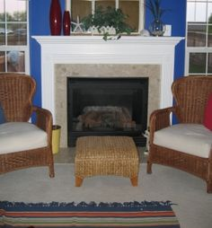 Vacations cost money, lots of money. In order to get to your intended vacation destination you spend a lot of your valuable relaxation time traveling. Family Room Fireplace, Faux Fireplace, Square Windows, Blue Rooms, House Colors, Paint Colors, New Homes, Interior, Inspiration