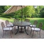 $3586.99 Oakland Living - Stone Art 9 Piece Dining Set with Cushions and Umbrella - 90094-2120-4005-BG-4101-15-AB