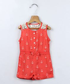 Take a look at the Beebay Red Anchor Romper - Infant, Toddler & Girls on #zulily today! Totally cute I had to buy it lol!
