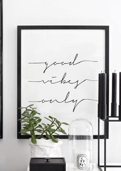 Good Vibes Only Black and White Inspiring by lettersonlove Room Inspiration, Interior Inspiration, Cuadros Diy, By Lassen, Black And White Interior, Interior Decorating, Interior Design, Design Interiors, Home Living