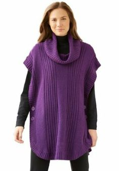 Woman Within Women's Poncho Style with Cowl Neck Sweater only