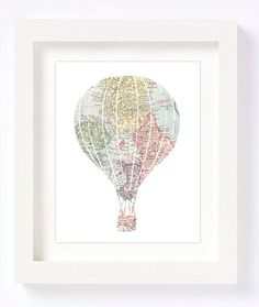 Printable - Hot Air Balloon Vintage World Map Kid Playroom Travel Nursery Wall…