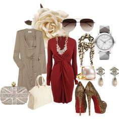 Lady in Red!  Tan, Gray, Cream, Red, Brown, Gold and Silver join in on a marvelous ensemble that showcases style and elegance. Styled by Meek. #Polyvore