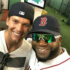 Tom Brady with David Ortiz at today's home opener. Picture posted by Papi to Facebook.