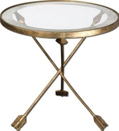 Accent-Side-End-Table-Iron-Arrow-Leg-Design-Round-Glass-Top-Gold-Leaf-Finish