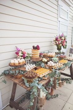 A rustic dessert table for a secret garden themed bridal shower! The bright flow… A rustic dessert table for a secret garden themed bridal shower! The bright flowers add a whimsical touch!✨ {Inspired by Kara's Party Ideas . Garden Party Theme, Rustic Garden Party, Vintage Garden Parties, Garden Party Decorations, Garden Party Wedding, Rustic Theme Party, Bridal Ahower Decorations, Boho Themed Party, Wedding Cake Table Decorations