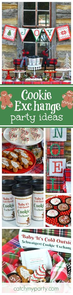 The Holidays are here so if you're looking for party ideas for a cookie exchange then look no further! This Christmas party is so pretty! Love the dessert table! See more party ideas and share yours at CatchMyParty.com Christmas Party Table, Christmas Desserts, Ideas For Christmas Party, Holiday Baking, Christmas Baking, Merry Christmas, Christmas Crafts, Swap Party, Cookie Exchange Party