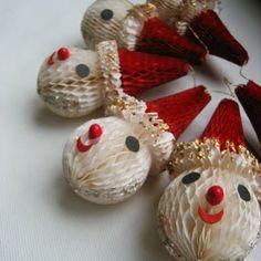 Vintage Christmas Honeycomb Decoration ~ Santa Head Ornaments