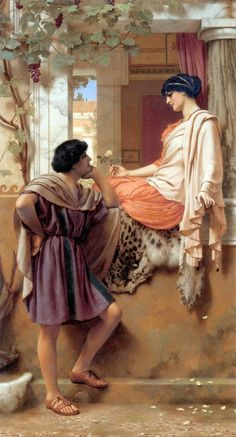 The Old, Old Story: 1903 by John William Godward (Unkknown Owner/Private Collection - Location Unknown) Pre-Raphaelite / Neo-Classicist John William Godward, Lawrence Alma Tadema, Pre Raphaelite Paintings, Rome Antique, Classical Art, Beautiful Paintings, Amazing Artwork, Oeuvre D'art, Painting & Drawing
