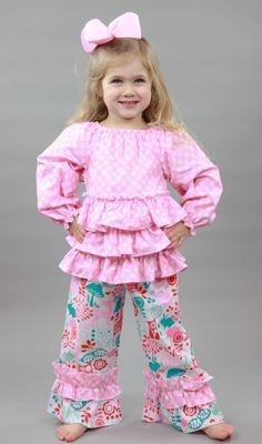 Southern Tots Pink Polka Dot Ruffle Peasant Pants Set