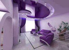 Paars en lila interieur.