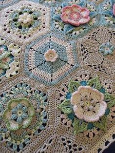 Ravelry: Project Gallery for Frida's Flowers Blanket pattern by Jane Crowfoot Crochet Motifs, Crochet Blocks, Crochet Squares, Crochet Granny, Crochet Blanket Patterns, Irish Crochet, Crochet Stitches, Crochet Afgans, Manta Crochet