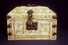 Rosette Casket with Warriors, Dionysiac Figures, and Animals Byzantine Second half of 10th or first half of 11th Century 15.7 cm x 23 cm x 16 cm (6 3/16 in. x 9 1/16 in. x 6 5/16 in.) bone and ivory on wood