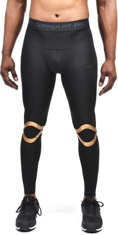 CopperFit Men's Compression Pants, Black