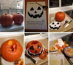 Pumpkin Carving Process - on the Dotty Brown Blog Pumpkin Carving Tips, Pumpkin Template, Halloween Pumpkins, Happy Halloween, Traditional, Templates, Brown, Food, Stencils