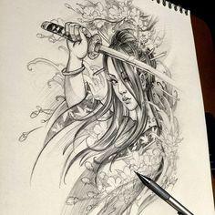 Chronic Ink Tattoo - Toronto Tattoo. Female warrior sketch done by Master Ma.