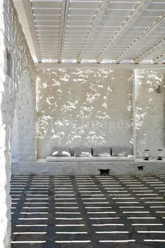 Traditional cycladic terrace white washed walls in House of Schake Paros, Greece