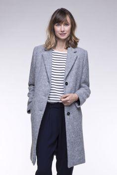Manteau femme gris long en tissu poilu