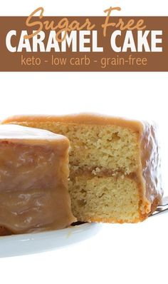 Love at first bite with this keto caramel cake. Your tastebuds will dance for joy and you won't believe it's low carb and sugar free! Tender almond flour vanilla cake with a rich caramel glaze. You…More 12 Easy Low Carb Dessert Recipes Keto Desserts, Sugar Free Desserts, Sugar Free Recipes, Keto Snacks, Low Carb Recipes, Low Carb Keto, Dessert Recipes, Sugar Free Cakes, Sugar Free Baking
