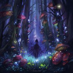 Illustration and Concept Art Portfolio by Nele Diel Fantasy Magic, Fantasy Anime, Fantasy Forest, Magic Forest, Forest Art, Fantasy World, Dark Fantasy, Fantasy Places, Dark Forest