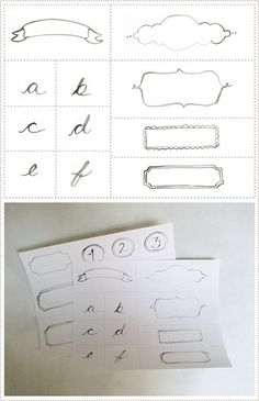 free hand-drawn labels, alphabet images & numbers - by mer mag