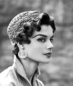 Hair idea for vintage hat wear. Leonie Vernet © Yale Joel, LIFE July 13, 1953.