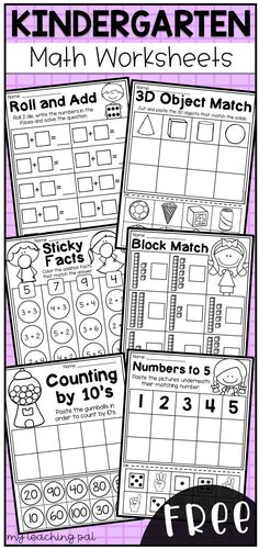 Free kindergarten math worksheets. This worksheet pack features 6 engaging math worksheets for kindergarten students. It provides students with practice in addition, place value, counting, skip counting and 3D objects.