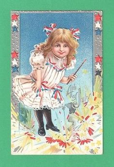 1918-JULY-4-POSTCARD-GIRL-PATRIOTIC-RIBBONS-DRESS-FIRECRACKERS-STARS-PAINTBRUSH