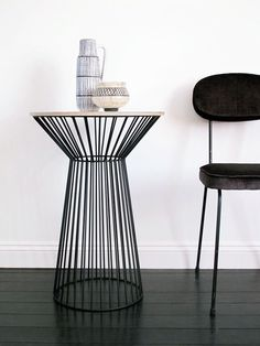 Textured Ply & Steel 'Tulip' Side Table...