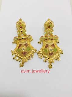 Gold Jewelry, Jewelery, Gold Earrings Designs, Gold Work, Ear Rings, Long Tops, Designer Earrings, Gold Chains, Fashion Jewelry