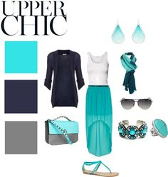 """Navy, Turquoise and Grey"" by samanthamaryhandbags on Polyvore"