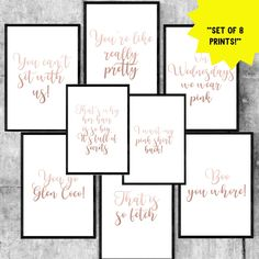 Set Of 8 Printable Party Signs, Quotes From Movie 'Mean Girls,' Printable Party Decor
