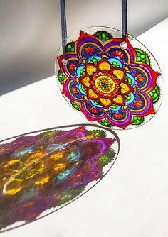 Stained Glass Suncatcher Sun Catcher Garden Decoration, Meditation Mandala, Hand Painted Sun Catcher for Window
