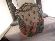 Antique+800+silver+frame+micro+glass+bead+Huge+floral+design+purse+