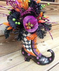 raz witch boot arrangement halloween centerpiece by azeleapetals - Raz Halloween Decorations