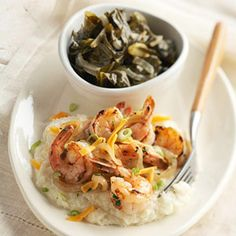 Shrimp and Grits (recipe 21 of 25)~~Don really likes this.  The flavor is mild, but the shredded cheese on top rather than in the grits really helps to bring out the flavor.~~~Rose
